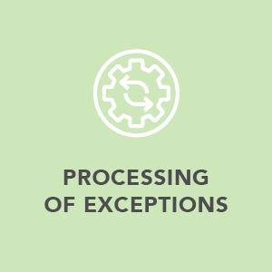 Processing of exceptions